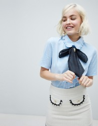 Sister Jane blouse with cameo broach pussybow and frill collar - Blue