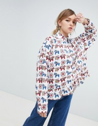 Sister Jane Blouse With Peplum Hem In All Over Pony Print - White