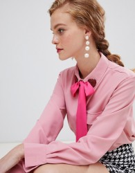 Sister Jane blouse with pussybow and heart collar - Pink