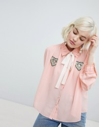 Sister Jane blouse with ribbon tie and heart patch detail - Pink