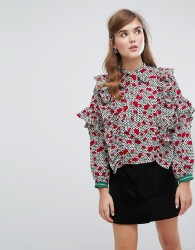 Sister Jane Bow Blouse With Sporty Trim In Floral Spot - Multi