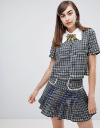 Sister Jane button up shirt with embellished ribbon tie in check co-ord - Blue