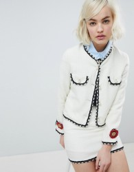 Sister Jane cropped tailored jacket with pearl trims in tweed co-ord - Cream