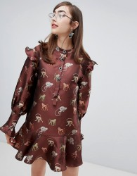Sister Jane dress with peplum hem and jewel buttons in jungle jacquard embroidery - Brown
