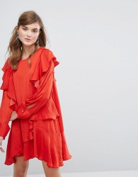 Sister Jane Long Sleeve Dress With Frills - Red