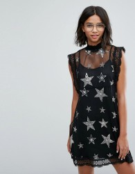 Sister Jane Mesh Dress With Sequin And Beaded Star Patches - Black