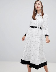 Sister Jane midi dress with pussybow and jewel embellishment in star polka dot - White