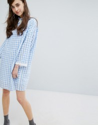 Sister Jane Mini Dress In Gingham With Collar - Blue