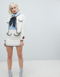 Sister Jane mini skirt with pearl trims in tweed co-Ord - Cream