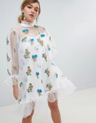 Sister Jane Organza Smock Dress With Gathered Cuffs And Floral Embroidery - White