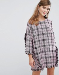 Sister Jane Oversized Dress With Ruffles In Tweed - Black