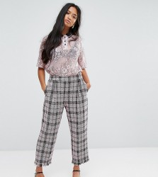 Sister Jane Petite Cropped Trousers In Tweed Check - Pink