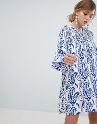 Sister Jane Shift Dress With Balloon Sleeves In All Over Paisley Print - White