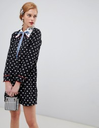 Sister Jane shift dress with ribbon tie in contrast star print - Black