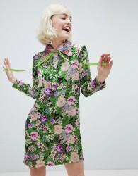 Sister Jane shift dress with ribbon tie in dragon petal print - Green