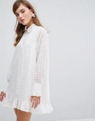 Sister Jane Shirt Dress With Embroidered Sheer Layer - White