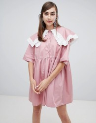 Sister Jane smock dress with double layer bib and contrast lace trim - Pink