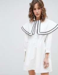 Sister Jane Smock Dress With Double Layer Bib In Cotton - White