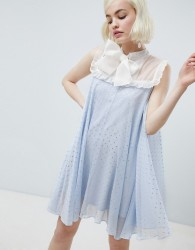 Sister Jane smock dress with pussybow in sparkle fabric - Blue