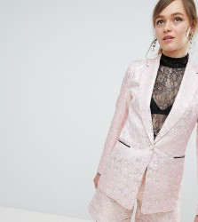 Sister Jane Tailored Blazer In Gold Leaf Jacquard - Pink