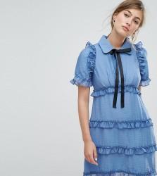 Sister Jane Tea Dress With Ruffles - Blue