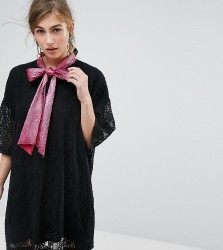 Sister Jane Tie Neck Mini Dress In Lace - Black