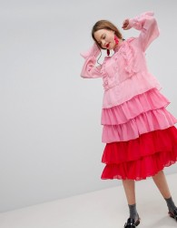 Sister Jane Tiered Midi Dress With Ruffle Front In Ombre - Pink