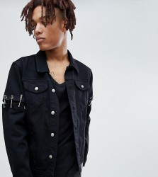 Sixth June denim jacket with safety pins in black exclusive to ASOS - Black