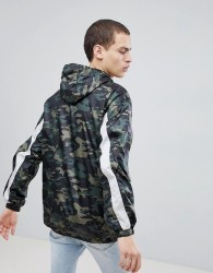 Sixth June Hooded Windbreaker In Camo - Green