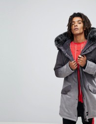 Sixth June Parka Jacket In Grey Faux Suede With Oversized Faux Fur Hood - Black