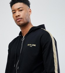 Sixth June track jacket in black with gold side stripe exclusive to ASOS - Black