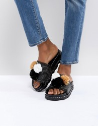 SixtySeven Belle Black Raffia Pom Slide Sandals - Black