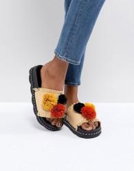SixtySeven Belle Natural Raffia Pom Slide Sandals - Beige