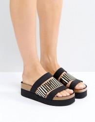 SixtySeven Black Triple Strap Slider Sandals - Black