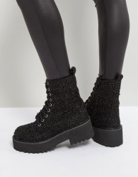 Sixtyseven Chunky Sole Metallic Lace Up Boot - Black