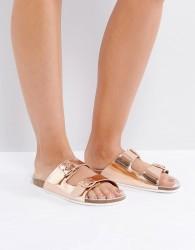 SixtySeven Flat Leather Slide Sandal - Copper