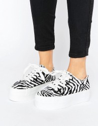 Sixtyseven Flatform Zebra LaceUp Trainer - White
