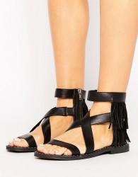 Sixtyseven Fringe Leather Flat Sandal - Black