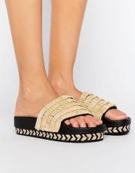 SixtySeven Natural Raffia Espadrille Slide Flat Sandals - Beige