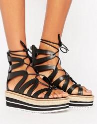 Sixtyseven Tie Up Flatform Sandal - Black