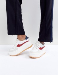 SixtySeven White Leather Flatform Chunky Trainer - Multi