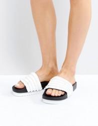 SixtySeven White Raffia Slider Sandals - White