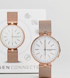 Skagen Connected SKT1404 Signatur Mesh Hybrid Smart Watch In Rose Gold - Gold