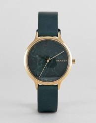 Skagen SKW2720 Anita leather watch in green - Green