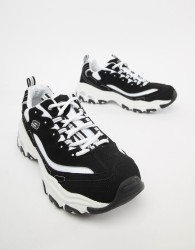 Skechers D'lites trainers in black and white - Black