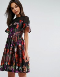 Skeena S Midi Prom Dress in Heavy Satin in Dark Floral - Multi
