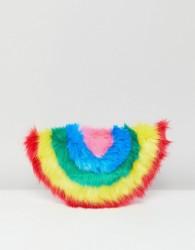 Skinnydip Faux Fur Rainbow Clutch Bag - Multi