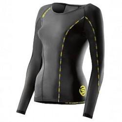 SKINS DNAmic Womens Long Sleeve Top - Black/Yellow - Medium
