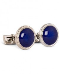 Skultuna Cuff Links Black Tie Collection Enamel Blue Silver