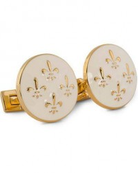 Skultuna Cuff Links Fleur de Lys Gold/Ivory White